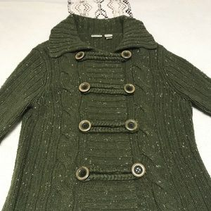 Cute army green button up cardigan